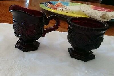 Avon's Cape Cod ~Cream And Sugar ~  Ruby Red Glass Vintage - One set