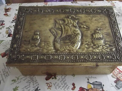 1930's Brass box for letters/stationery with ship motifs