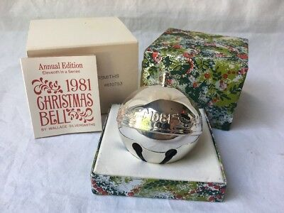 Wallace Silversmiths 1981 Annual Edition Silver Plated Christmas Sleigh Bell