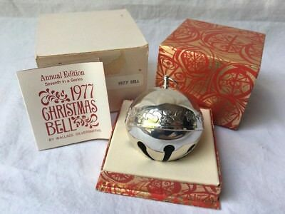 Wallace Silversmiths 1977 Annual Edition Silver Plated Christmas Sleigh Bell
