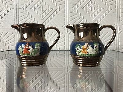 Pair of Antique small Luster Jugs (95mm Tall)