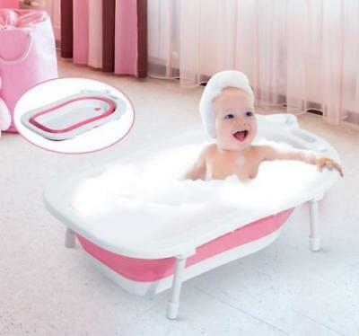 Foldable Baby Bath Tub With Soap Holder & Handle 89Cm White Pink Infant Bathtub