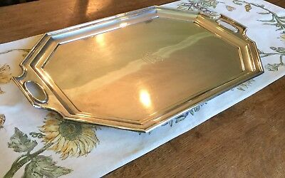"""Antique 1900 Durgin Sterling Silver Waiters Tray Fairfax Pattern #4 24""""7lb/3175g"""