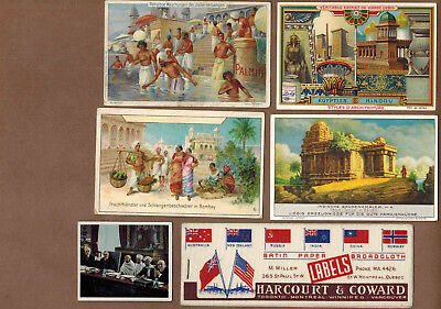 INDIA: Collection of Scarce Antique Cards, Postcards, Felt, Blotter (1900)