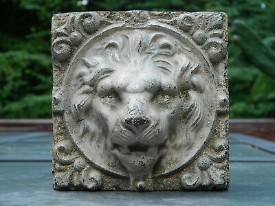 Antique Cast Stone Lion Face In High Relief Cast Lion Head Architectural Salvage
