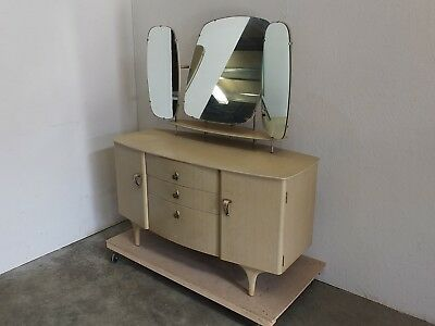Stunning Retro Ash Veneer Bow Front Dressing Table 1960's (31)