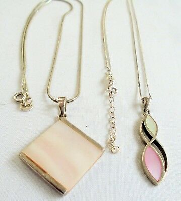 Two very good quality vintage sterling silver & m-o-p pendants + sterling chains