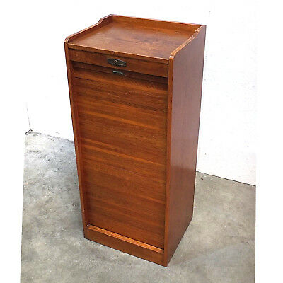 20th c. Antique Oak Tambour Front Filing Cabinet w/ Galley Top (46)