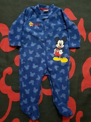 Fleece Mickey Mouse Sleepsuit Age 3-6 Months Used.