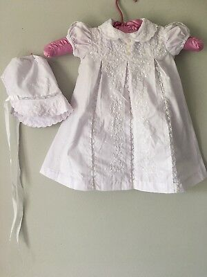 Vtg Baby Girl Newborn Christening Church Outfit Dress Bonnet White Embroidery