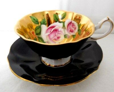 Queen Anne Roses Gold Black Cup & Saucer Bone China England