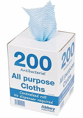 Abbey CNT04499 Antibacterial Cloths on a Roll, 220 x 370 mm, Blue Pack of 200