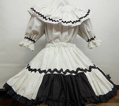 2 Piece Black And White Dotted Square Dance Dress