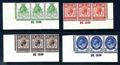 1929 POSTAL UNION CONGRESS GREAT BRITAIN SET 4v IN MINT CONTROL STRIPS OF 3 VGC