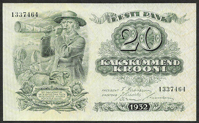 Estonia  20 krooni, 1932, Pick 64, virtually uncirculated, as issued
