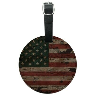Rustic American USA Flag Distressed Round Leather Luggage Card Carry-On ID Tag