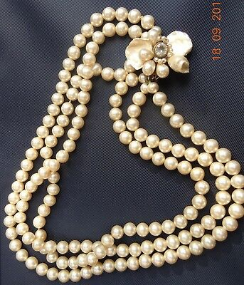 Early Vintage Miriam Haskell Faux Pearl Necklace With Rhinestone Clasp
