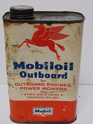 Vtg 1950s MOBIL OIL OUTBOARD MOTOR OIL GAS CAN ADVERTISING TIN PEGASUS NEW YORK