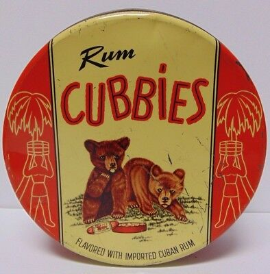 Old Vintage Rum Cubbies Tin Little Teds Cookies Fullerton Ave Chicago Bear Cubs