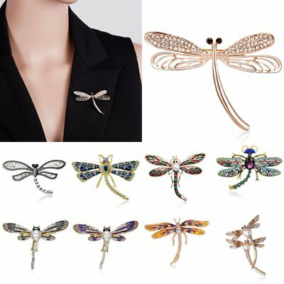 Women Lady Crystal Pearl Animal Dragonfly Breastpin Custome Brooch Pin Jewelry