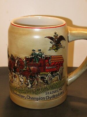 Budweiser / Ceramarte Cs-19 First Clydesdales Holiday Stein  1980