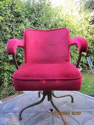 EVERTAUT vintage industrial swivel chair red velour