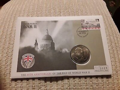 60Th Anniversary End Of World War11 Churchill Coin Cover I.o.m