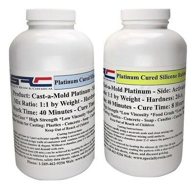 Platinum RTV Silicone Rubber For Mold Making: 1:1 Mix Ratio Food Grade 2 Quarts