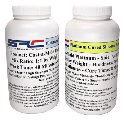 Platinum RTV Silicone Rubber For Mold Making 1:1 Mix Ratio, Food Grade 1 Quart
