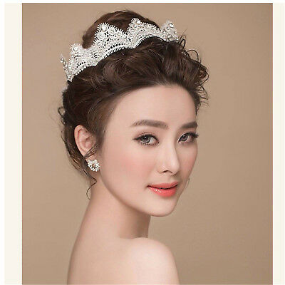 Women Tiara Rhinestone Lace Crown Wedding Crystal Hair Band Headwear Hairband UP