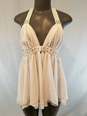 Victorias Secret bridal white babydoll teddy S beaded sequin chiffon New M11
