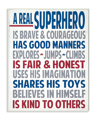 The Kids Room by Stupell Typography Art Wall Plaque, A Real Superhero, 11x0.5x15