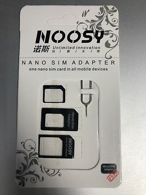 LOT OF 5 NOOSY Nano Micro Standard SIM Card Adapter 4-in-1  Converter Tool