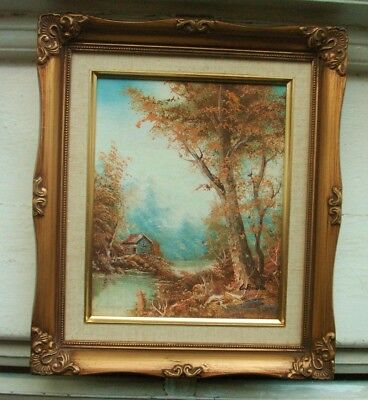 Old Vintage Oil Painting on Canvas on Board River Cottage By L Booth Gilt Frame