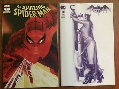 Amazing Spider-Man #1 & Batman #50 Alex Ross Variants (Marvel DC 2018) VF/NM