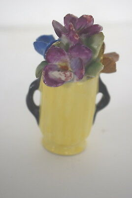 Wade 1930's Miniature Flower Posy in Yellow Vase