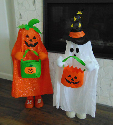 """Halloween 37"""" tall GHOST Trick-or-Treat Greeter with Color Changing Lights BN"""