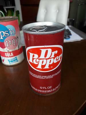 1970 Unopened Dr Pepper Pull Tab Soda Can Steel Flat top Fight Litter Logo Pop