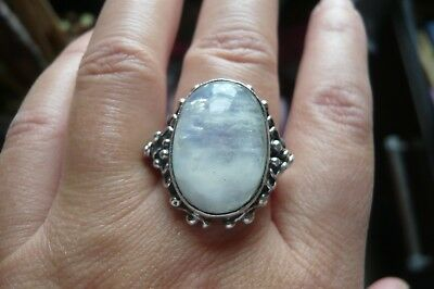Heavy Vintage Moonstone and Silver Ring