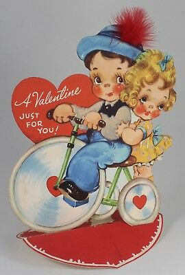 "Vintage 1940s Valentine Card - Large (8"") with Flocking, Feather -- Gibson Card"