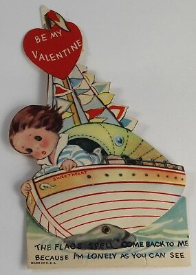 "Vintage 1940s Mechanical Valentine Card - Rocking Boat ""Sweetheart"""