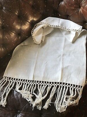 "Antique French Lace And Linen Curtain Panel Handmade Lace Hemp Tassels 23""/47"""