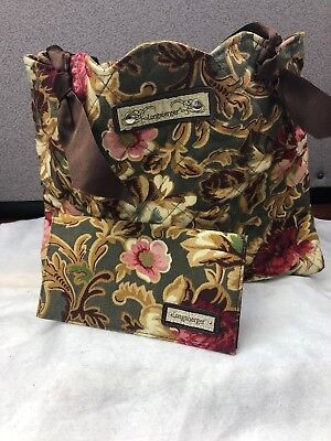Longaberger Majolica Garden Quilted Tote Brown Ribbon Handles & Checkbook Cover
