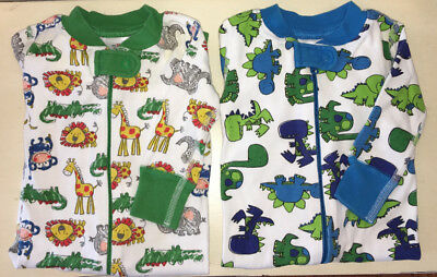 Hanna Andersson size 60 (6-9 months) Lot of 2 boys sleepers one piece zipper EUC