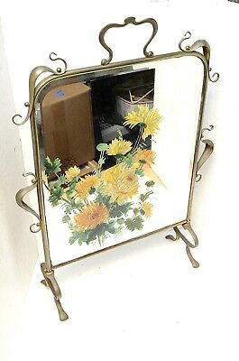 """VTG Antique Art Nouveau Brass Free Standing mirror Fire place Screen French 29"""""""