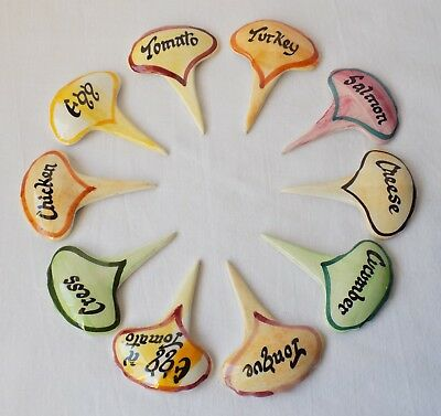 Ten Vintage Pottery Sandwich Labels, Markers. All Different. Toni Raymond ?