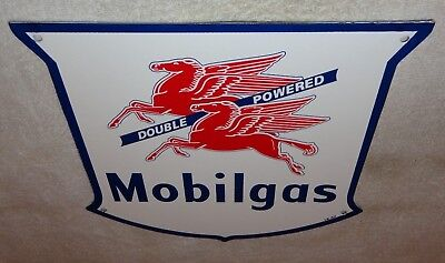 "Mobil Mobilgas Double Powered 11 3/4"" Porcelain Metal Gasoline & Oil Sign Gas Nr"