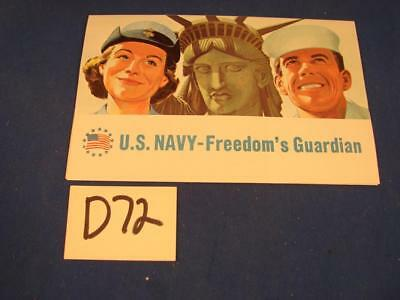 D72 Vintage 1960's Us Navy Recruiting Freedom's Guardian Brochure