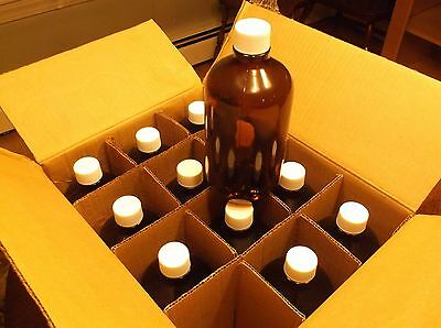 Eagle Picher 112-01A 1L Amber Glass jar / Bottle with Caps   CASE OF 12  1 liter