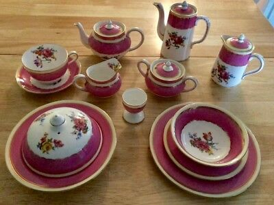 Antique Ansley of England bone china 17 piece breakfast for one